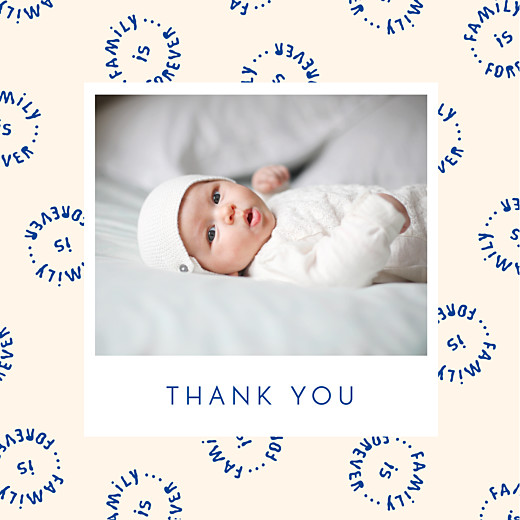 Baby Thank You Cards Family is forever blue
