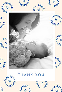 Family is forever portrait blue baby thank you cards