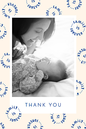 Baby Thank You Cards Family is forever portrait blue