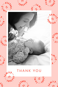 Family is forever portrait pink pink baby thank you cards