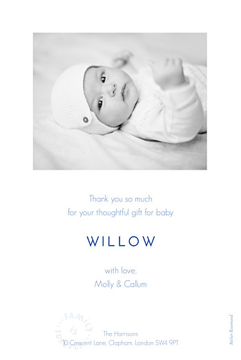 Baby Thank You Cards Family is forever portrait blue - Page 2