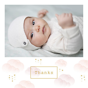 Mist (large) pink white baby thank you cards