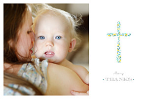 Liberty cross landscape (large) green christening baby thank you cards