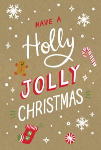 Christmas Cards Holly jolly christmas kraft