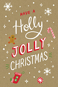 Holly jolly christmas kraft grey christmas cards