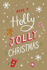 Holly jolly christmas kraft vintage christmas cards