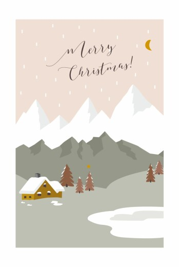 betway必威开户网站圣诞贺卡迷人的小木屋hc粉红色