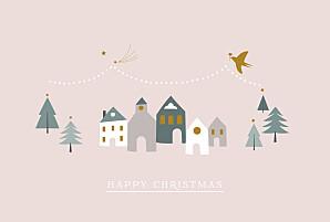 Winter village hc pink pink christmas cards