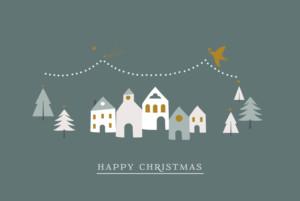 Christmas Cards Winter village hc dark green