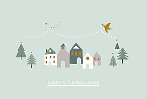 Winter village hc green green christmas cards