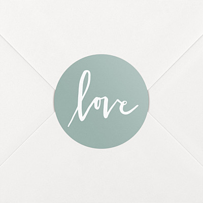 Love letters green wedding stickers