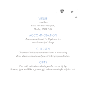 Winter promise white guest information cards