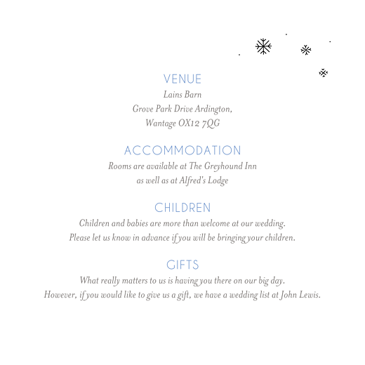 Guest Information Cards Winter promise white