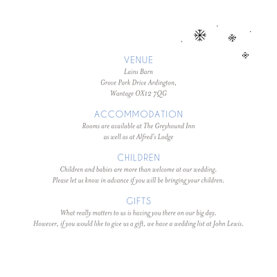 Guest Information Cards Winter promise white finition