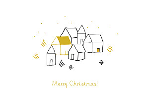 Scandinavian village yellow my lovely thing  christmas cards