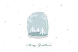 Snow globe (4 pages) blue vintage christmas cards