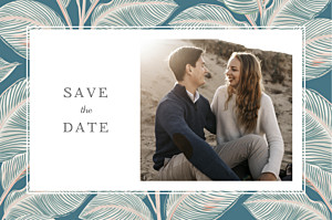 Calathea blue save the date cards