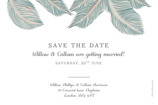 Save The Date Cards Calathea blue - Page 2