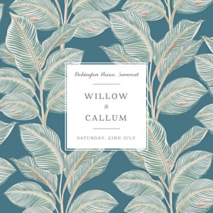 Calathea bleu vintage wedding invitations
