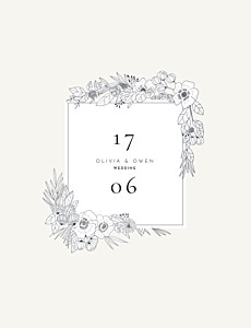 Secret garden white floral wedding invitations
