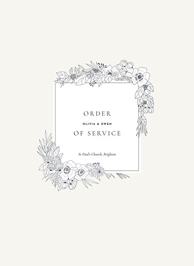 Wedding Order of Service Booklets Secret garden white