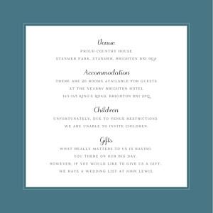 Calathea blue guest information cards