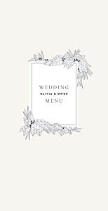 Secret garden white wedding menus