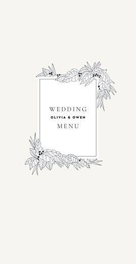 Wedding Menus Secret garden white