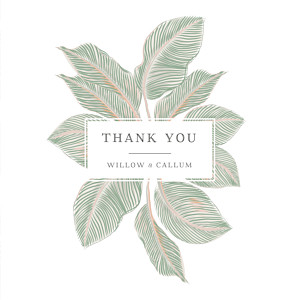 Calathea (4 pages) green green wedding thank you cards