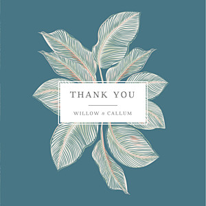 Calathea (4 pages) blue blue wedding thank you cards