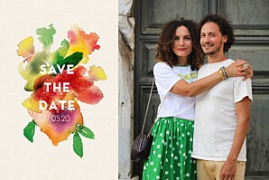 Bloom beige save the date cards