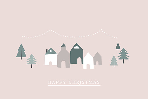 Christmas Cards Winter village (foil) pink