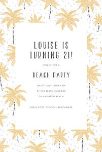 Palm trees yellow birthday invitations