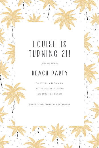 Birthday Invitations Palm trees yellow