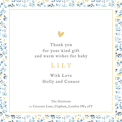 Baby Thank You Cards Liberty heart (large) blue