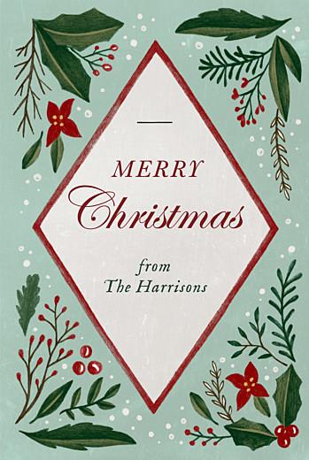 Christmas Cards Retro christmas portrait green