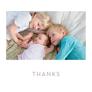 Simple photo (large) white baby thank you cards