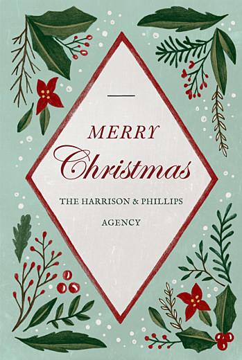 Business Christmas Cards Retro christmas green