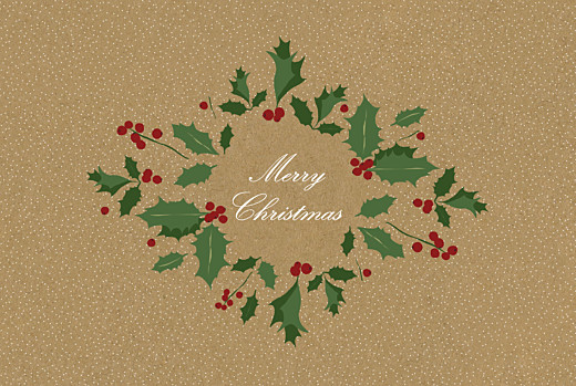Business Christmas Cards Boughs of holly kraft
