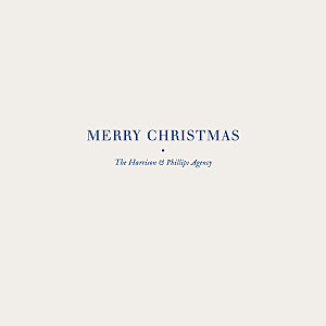 Natural chic (foil) blue business christmas cards