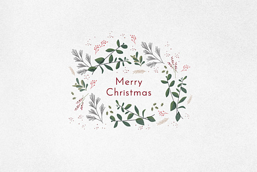Business Christmas Cards Winter wreath white