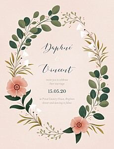 Daphné spring pink wedding invitations