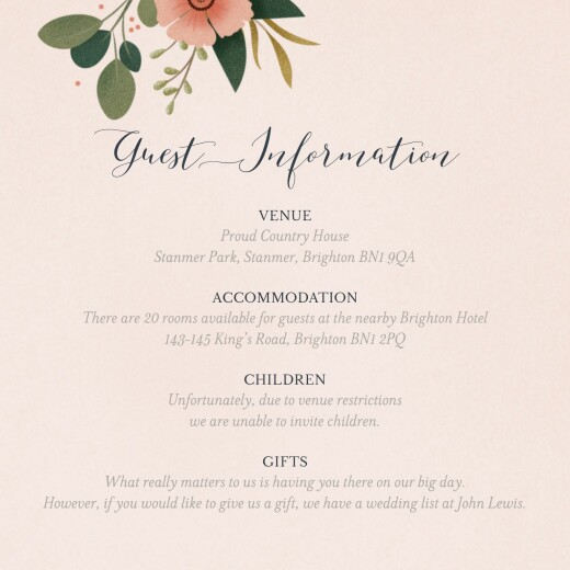 Guest Information Cards Daphné (square) spring
