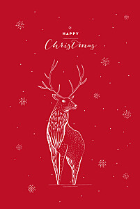 Holiday stag 4 pages red animal christmas cards