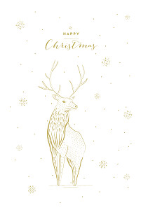 Holiday stag 4 pages white beige christmas cards
