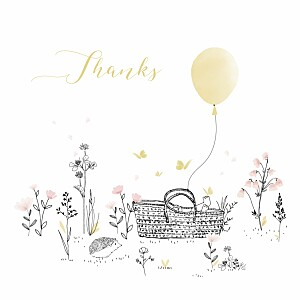 Melody yellow yellow baby thank you cards