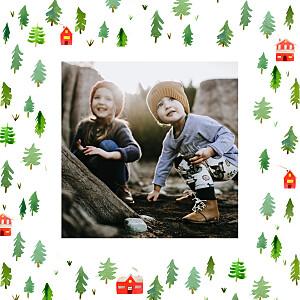 Evergreen green red marguerite courtieu christmas cards