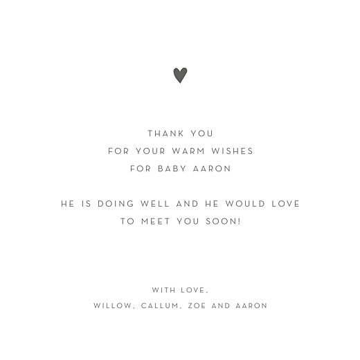Baby Thank You Cards Elegant heart 4 pages (foil) white - Page 3