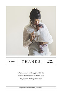 Breaking news (portrait) white baby thank you cards