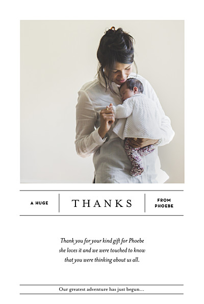 Baby Thank You Cards Breaking news (portrait) white finition